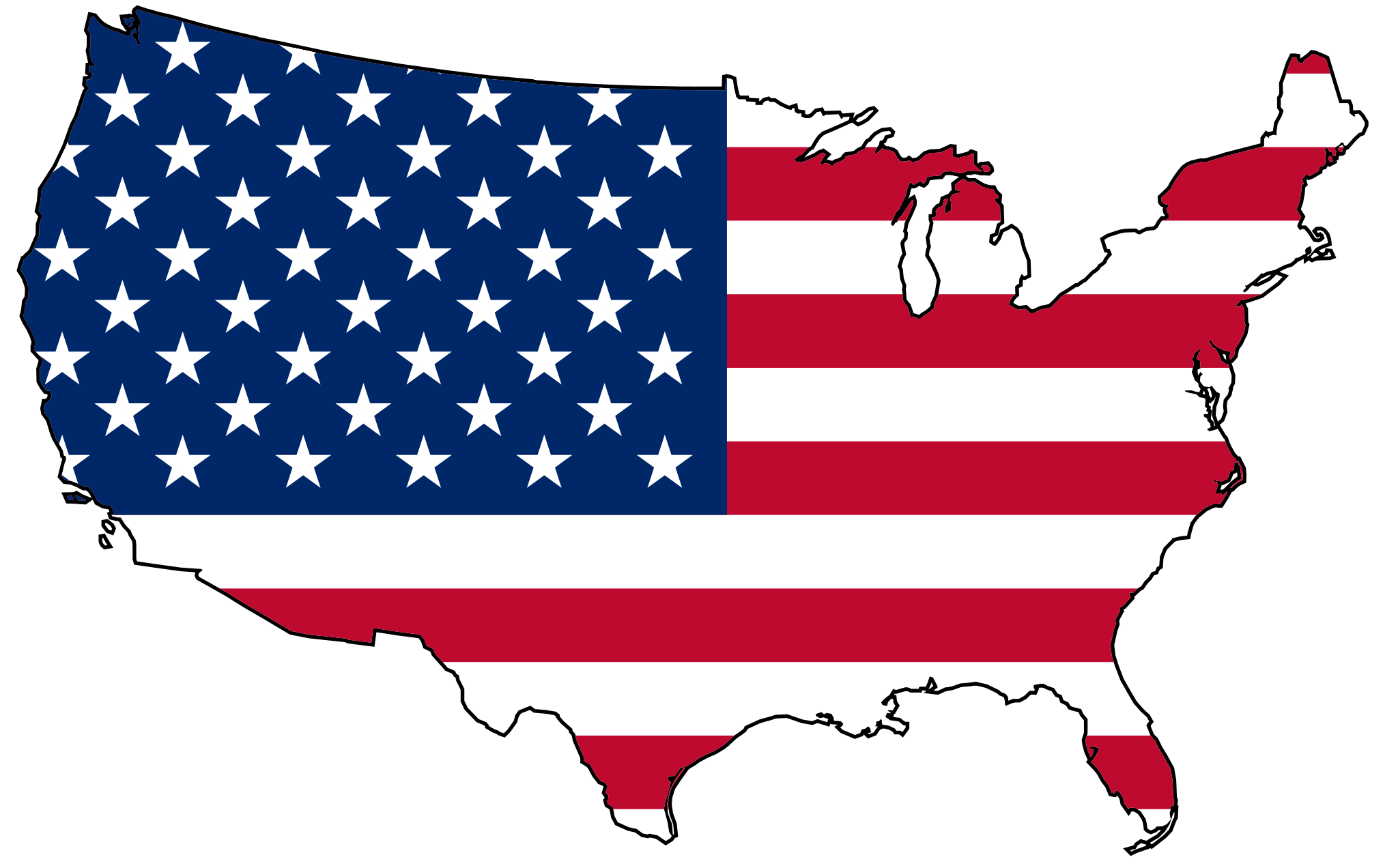 US Map Flag Fill 2